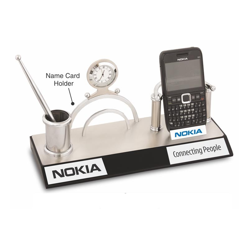 4 in 1 Mobile Stand, Name Card Holder, Penstand & Clock