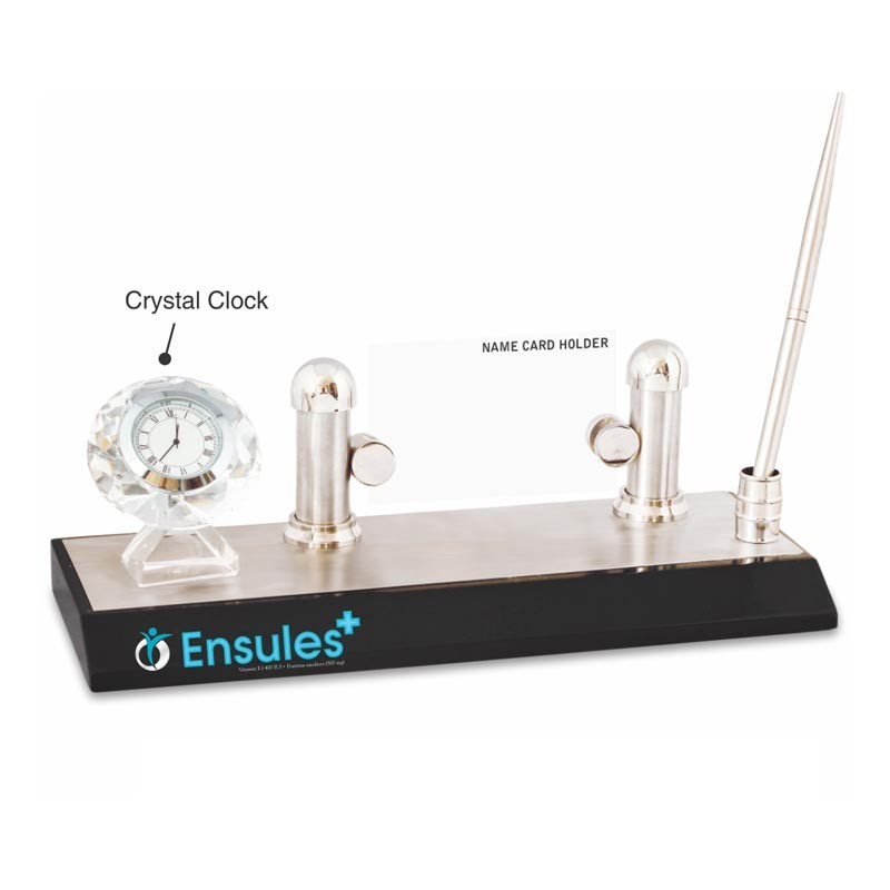 3 in 1 Crystel Clock, Pen Stand & Name Card Holder