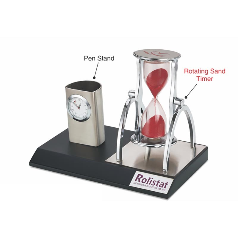 3 in 1- Pen Stand, Clock & Rotating Sand Timer